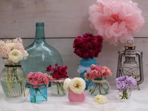 Centros de flores Flores en el columpio