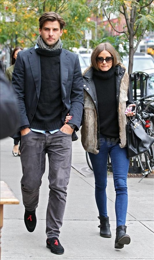 Olivia Palermo and boyfriend Johannes Huebl heading to lunch at Gemma in NYC
