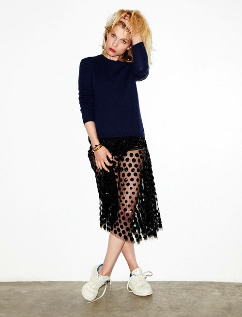 Le-Fashion-Blog-Clemence-Poesy-Madame-Figaro-Sheer-Polka-Dot-Skirt-Adidas-Stan-Smith-Sneakers