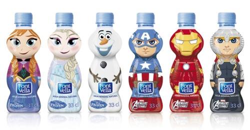 botellas-de-font-vella-frozen-y-los-vengadores